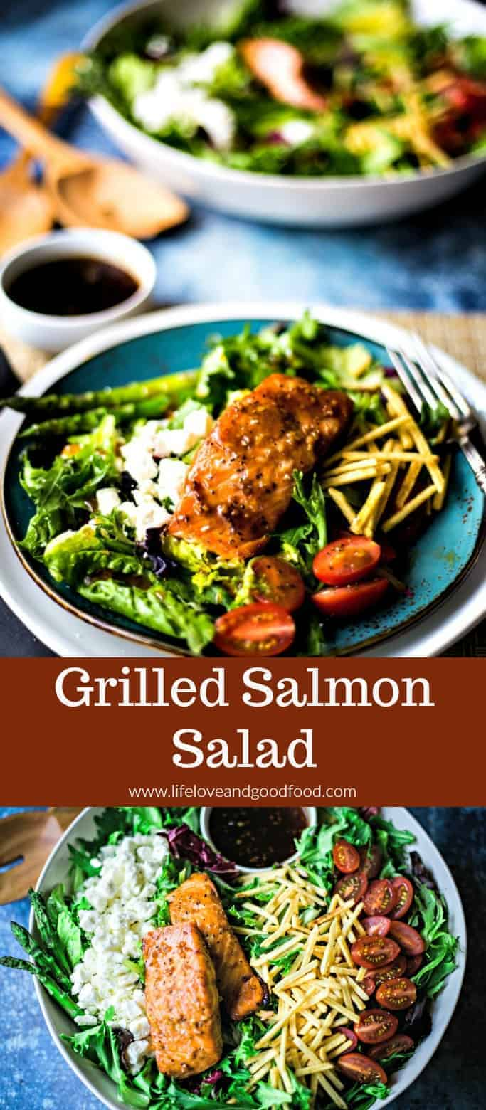 A fresh salmon salad is the perfect way to enjoy a gourmet meal even on busy weeknights. Toss mixed field greens, cherry or grape tomatoes, Feta cheese, and crispy shoestring potatoes with grilled salmon and asparagus and drizzle with my EASY homemade balsamic dressing. #salmonsalad #grilledsalmon #grilledsalmonsalad