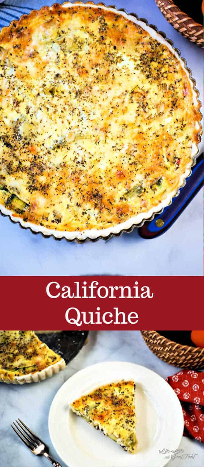California Quiche is a veggie lover's egg dish with fresh zucchini, red bell peppers, onion, and artichoke hearts. Fresh, cheesy, and delicious, each serving of this yummy vegetable quiche is under 250 calories! #breakfast #quiche