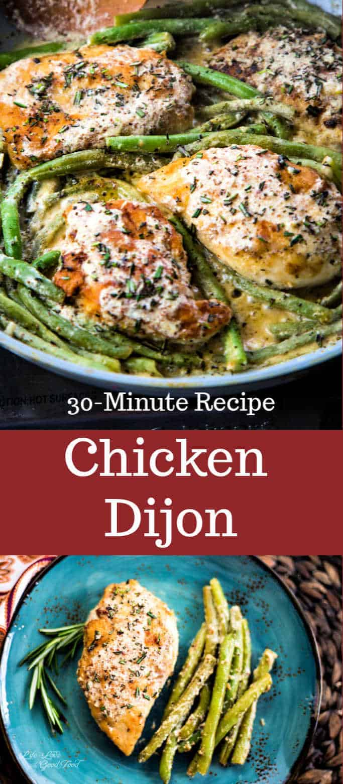 A twist on a classic French recipe, this Chicken Dijon is infused with fresh rosemary and makes a complete meal by cooking green beans in the same pan with the creamy Dijon mustard white wine sauce. #easydinnerrecipe #chickenrecipe