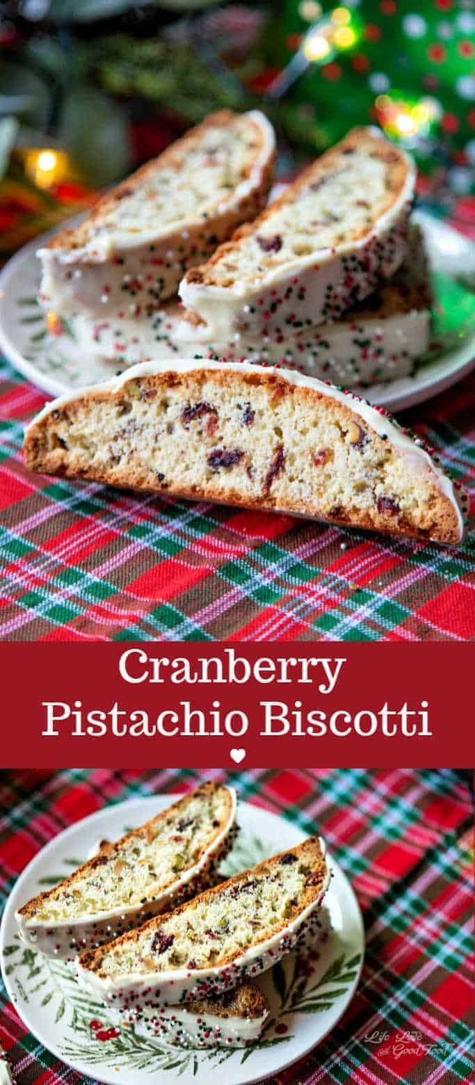 Perfect for the holidays, this festive Cranberry Pistachio Biscotti dipped in creamy white chocolate has a delicate vanilla cookie flavor. The recipe also includes three more delicious flavor swaps! #biscotti #Italiancookies #holidaybaking