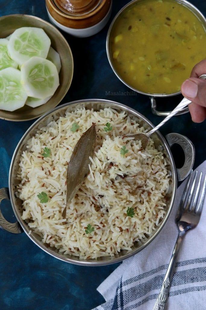 Jeera Rice - Indian Cumin Rice in Pressure cooker