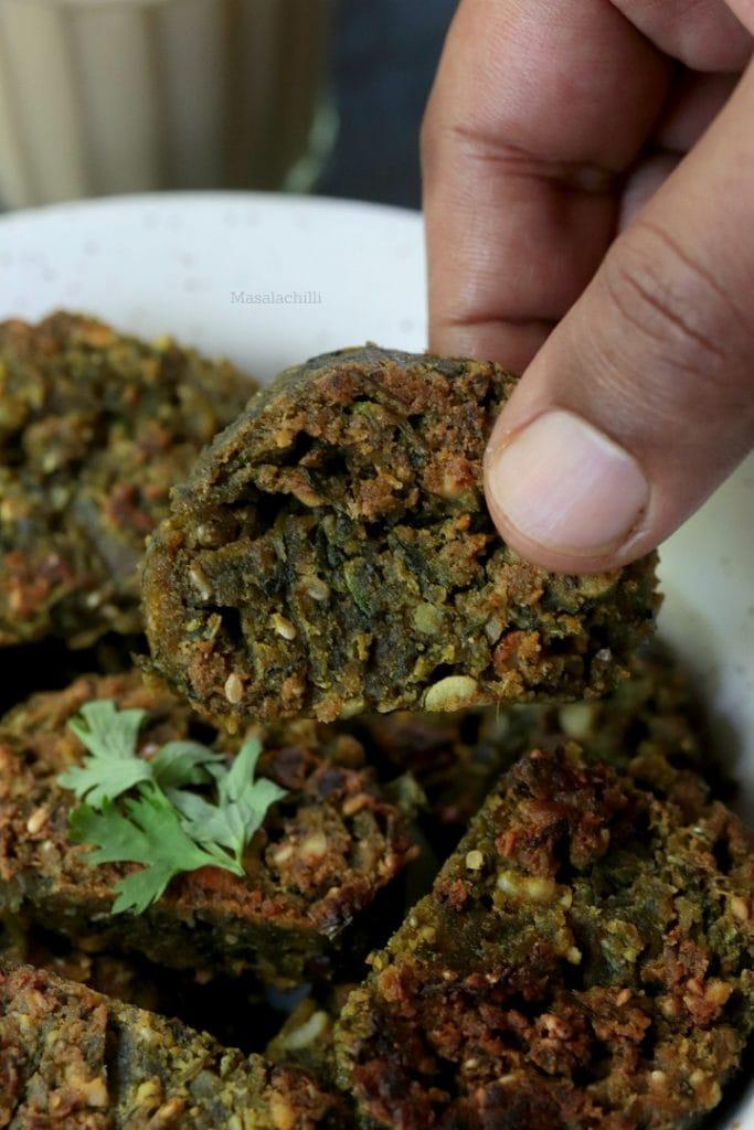 Kothimbir Vadi - Maharashtrian Snack recipe with Coriander Leaves and gram flour