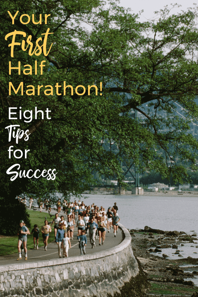 Crush and conquer your first half marathon with these 8 tips that apply to both training and race day.  Stay healthy and enjoy your first half!  #runningtips #running #halfmarathon #runningglow #beginnerrunner