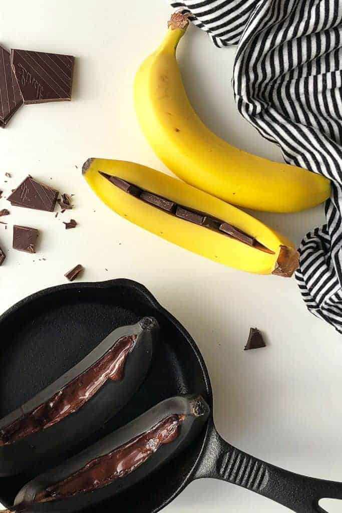 Chocolate Baked Bananas in the Oven