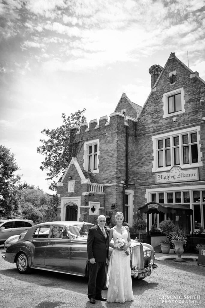 Bride arrives at Highley Manor