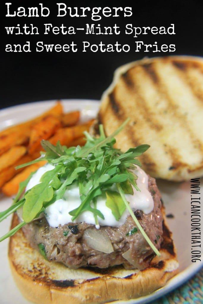 Lamb Burgers with Feta-Mint Spread and Sweet Potato Fries