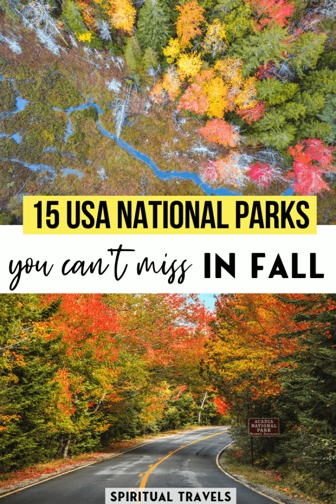 Fall is an incredible time to visit a national park in the USA! Find out which USA national parks are best to visit in fall in this detailed guide! #USA #america #nationalparks best places to visit in america | america road trip | america national parks | yellowstone | grand canyon | glacier national park | autumn colors | smoky mountains national park