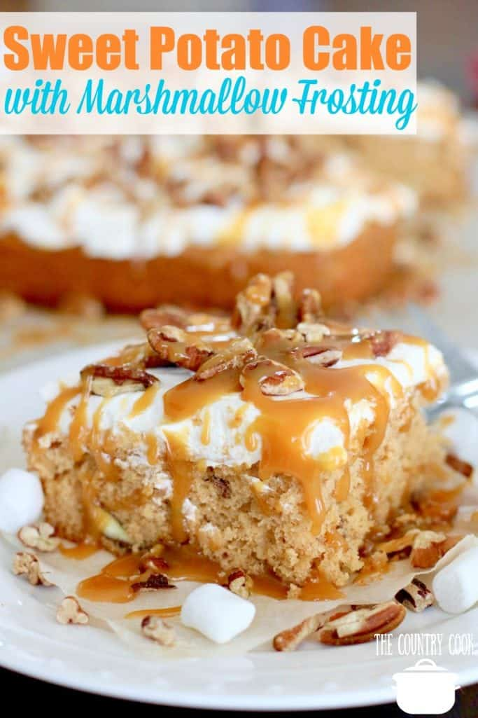 Sweet Potato Cake with Marshmallow Frosting drizzled with salted caramel recipe from The Country Cook