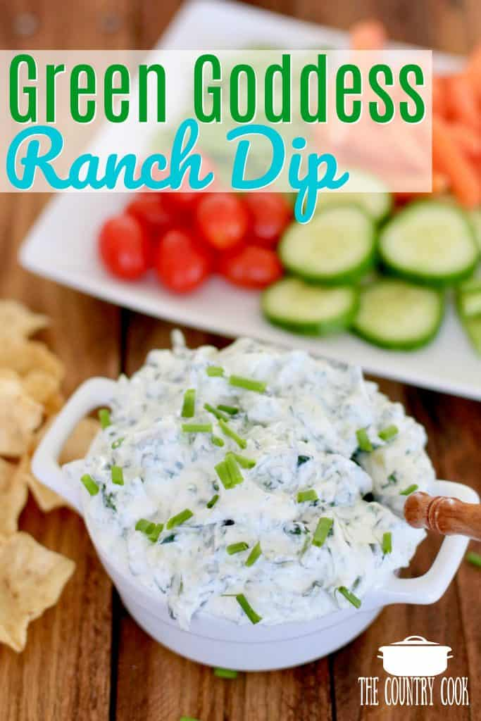 Green Goddess Ranch Dip recipe from The Country Cook