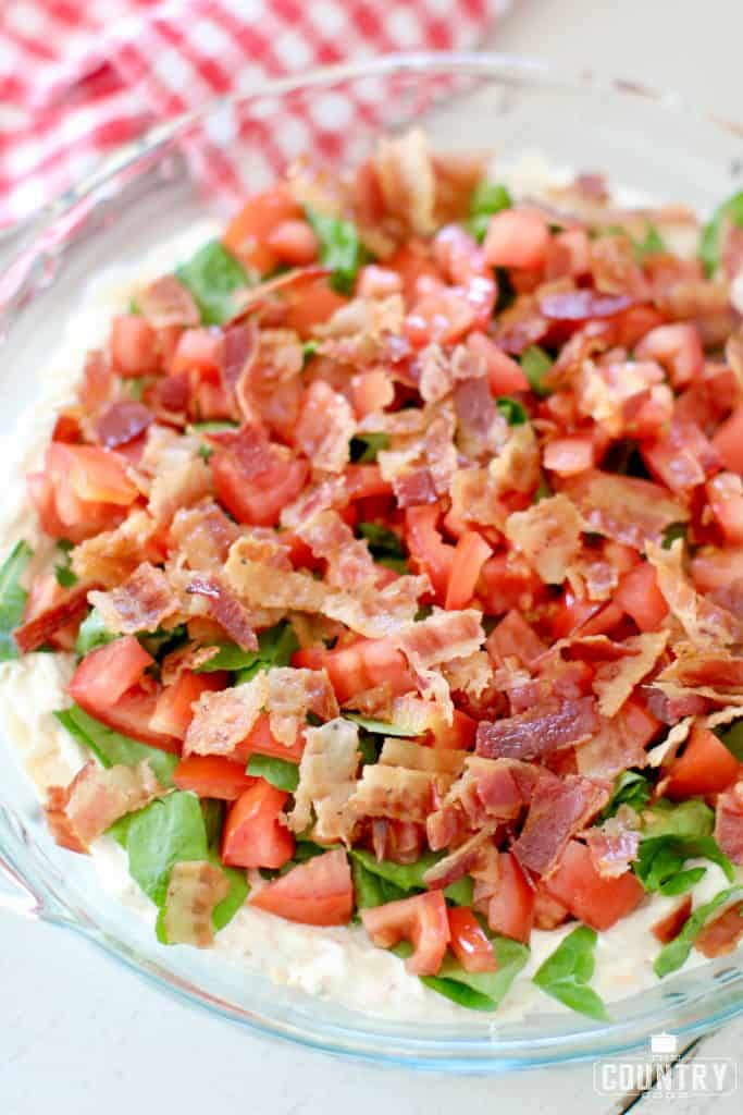 Lettuce, Tomatoes and Bacon on Veggie Cream Cheese Dip
