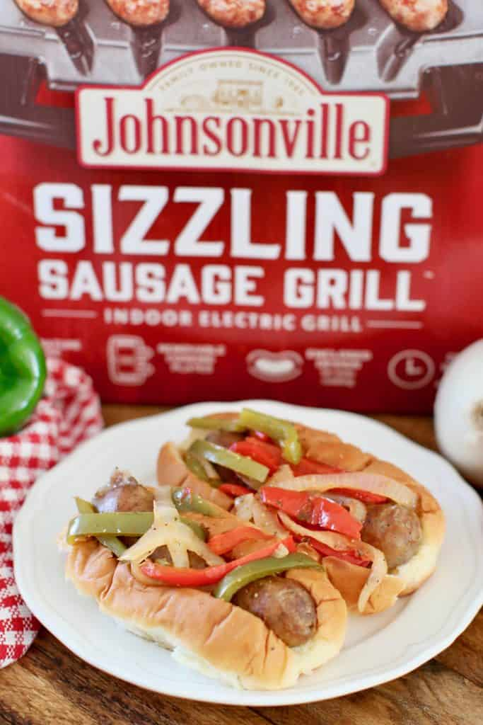 Johnsonville Sausage Grill with Sausage and Peppers on a bun