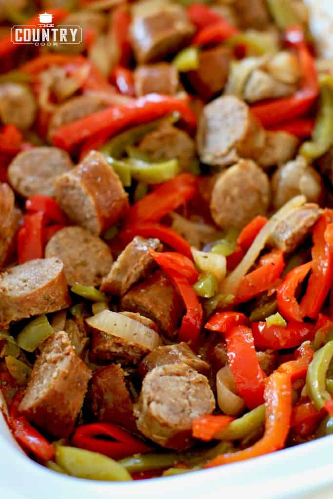Sausage and peppers, slow cooker, sliced