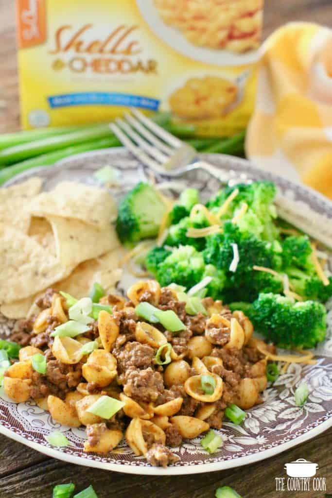Easy Taco Macaroni and Cheese with boxed shells and cheese, steam fresh broccoli florets and tortilla chips on a Spode plate