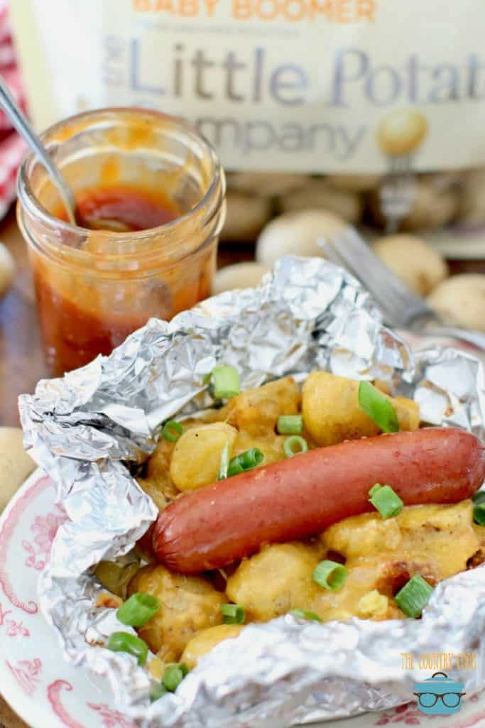 BBQ Grill Hot Dog or Sausage Potato Packets recipe