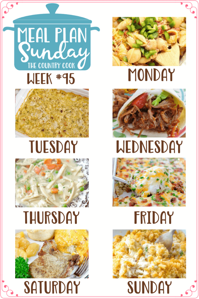 Meal Plan recipes include: Crock Pot Taco Pasta, Chicken and Dumplings Casserole, Crock Pot Mexican Shredded Beef, Thick & Creamy Chicken Noodle Stew, Jalapeno Popper Tater Tot Chicken Casserole, Hash Brown Pork Chop Casserole, Ritz Chicken Casserole