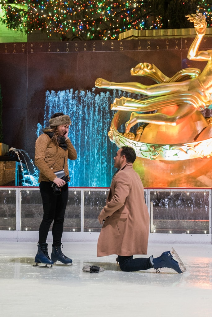 Photo Engagement on Ice - The Rink at Rockefeller Center secret proposal. | VladLeto