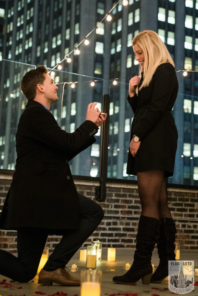 Private rooftop proposal in NYC