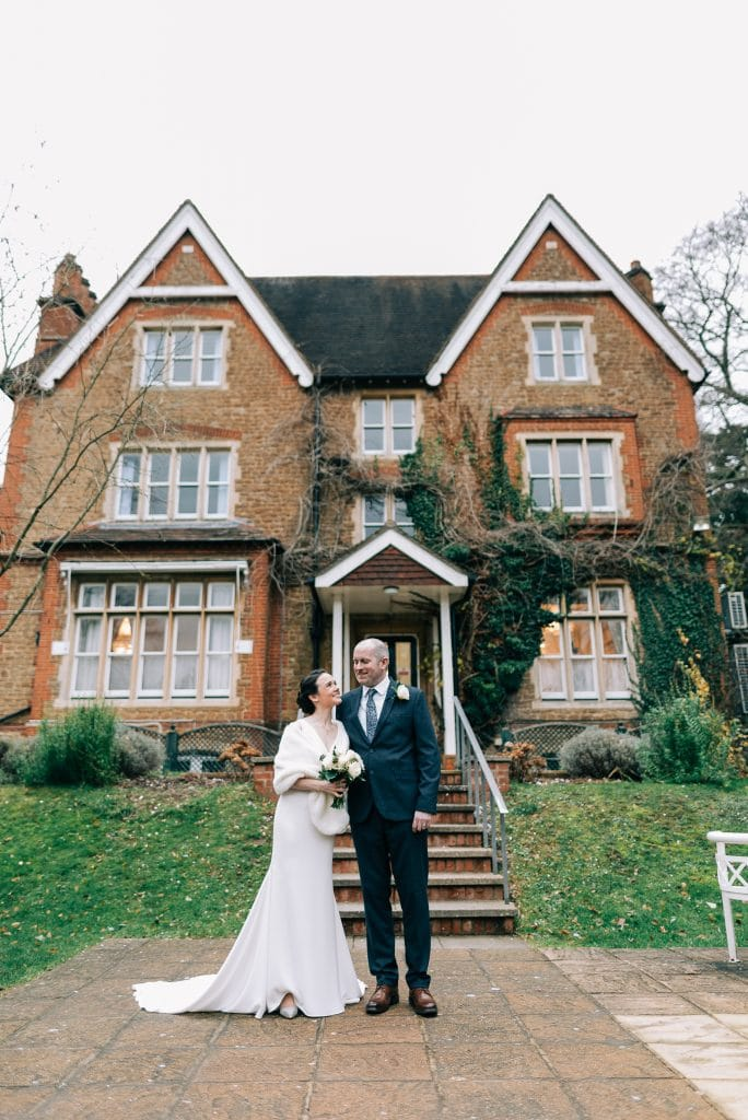 bride and groom just married outside Artington House
