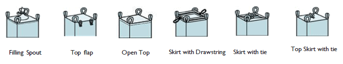 Various top filling options for fibc bags