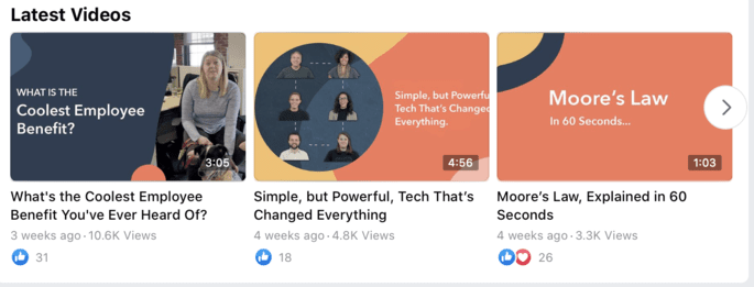 Facebook video thumbnails
