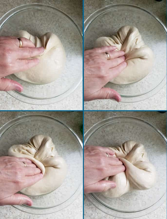 four images of a hand folding bagel dough in a bowl