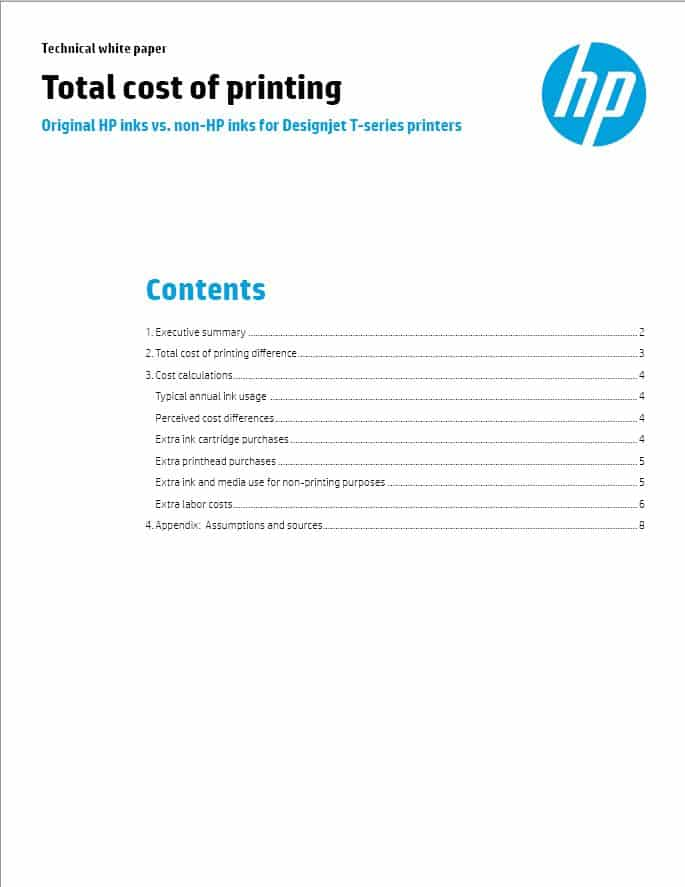 HP total cost of printing