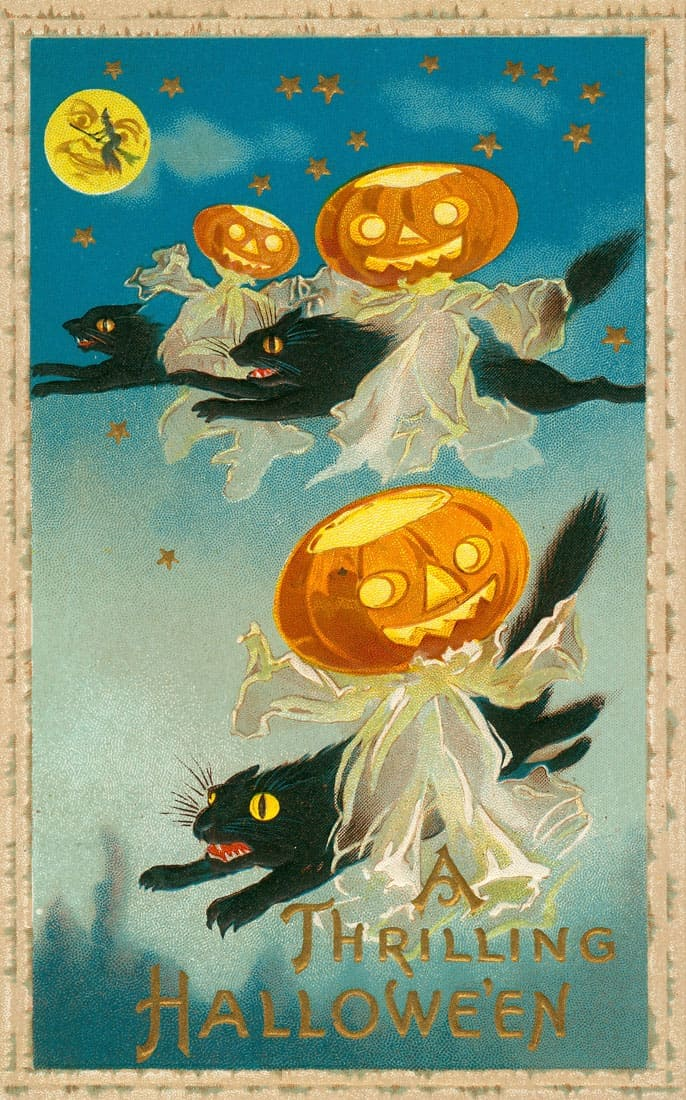"""A Thrilling Hallowe'en."" (Three black cats flying through the air with Jack-o-lanterns)"
