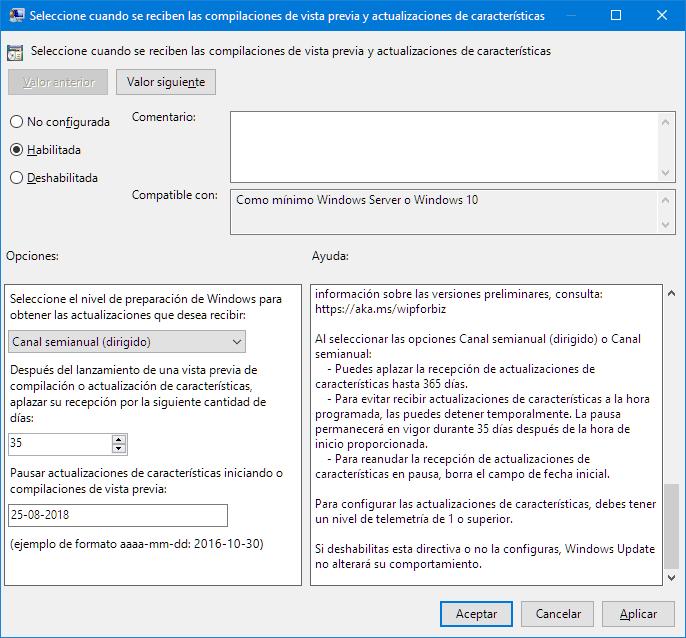 Pausar actualizaciones de funciones en Windows 10
