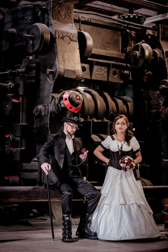 Steampunk After Wedding Shooting Tobiashammer in Ohrdruf