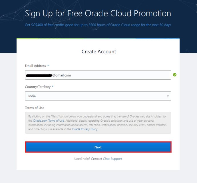 Creating free cloud account