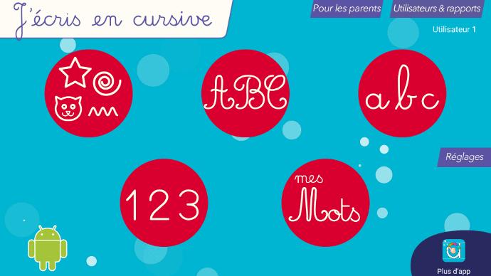 Apprendre l'alphabet sur un écran interactif tactile