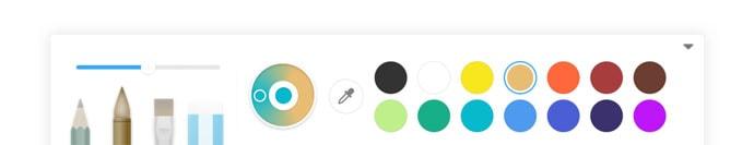 La palette d'artiste du logiciel professionnel Lynx Pro sur écran interactif