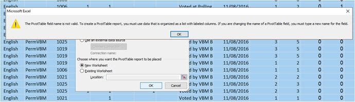PivotTable Field Name not valid error dialog