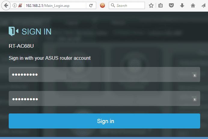 ASUSWRT control panel login