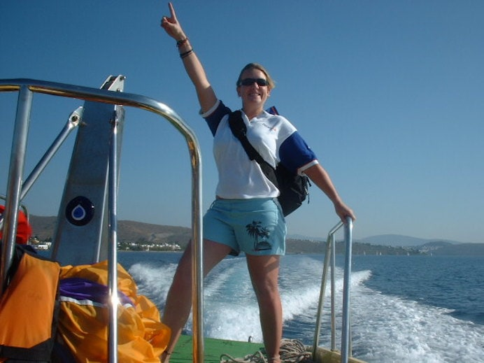 Melanie May on a boat in Turkey