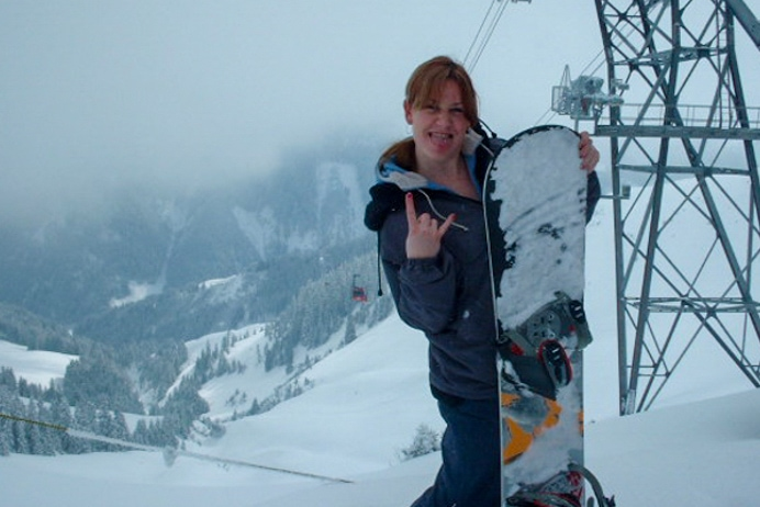 Getting ski fit. Melanie May on the ski slopes in Kirchberg in Austria.