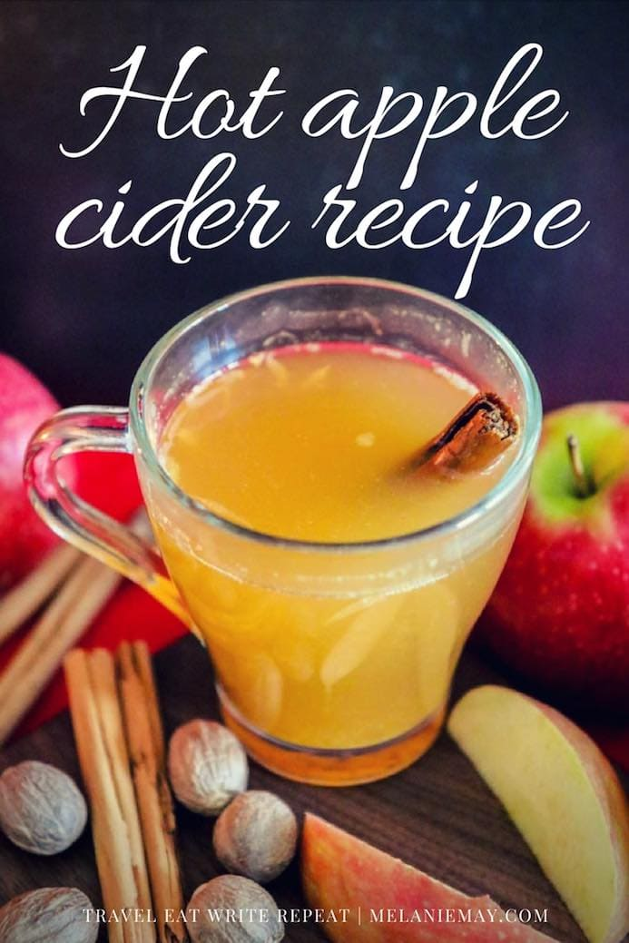 Hot Apple Cider recipe is mulled with cinnamon sticks, cloves and orange and spiked with a dash of Apple Brandy for an adult cider punch.