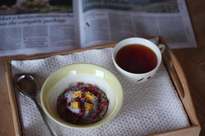 Quinoa porridge recipe served with tea