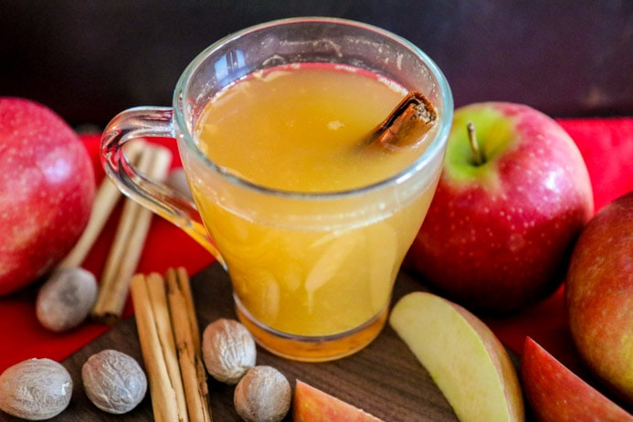 Hot Apple Cider recipe - mulled with cinnamon, cloves and orange and spiked with Longueville House Apple Brandy for an adult cider beverage.