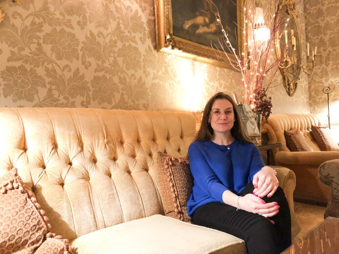 Longueville House Cork review - this is a stunning four-star heritage-listed Georgian property in Mallow Co. Cork in Ireland. This is Melanie May relaxing in the lounge.