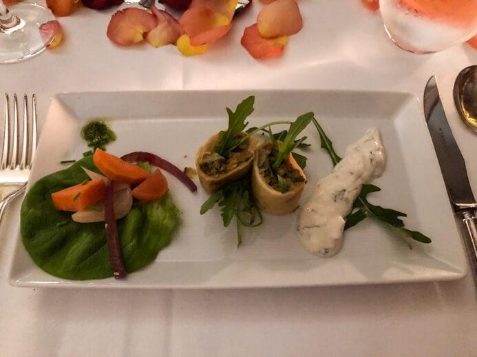 Longueville House Restaurant review - the Valentine's Night starter of lentil spring rolls with pickled vegetables