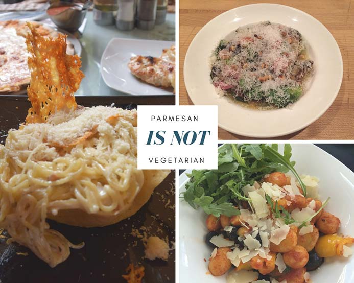 A collage of photos showing food covered in Parmesan cheese which is not suitable for vegetarians.
