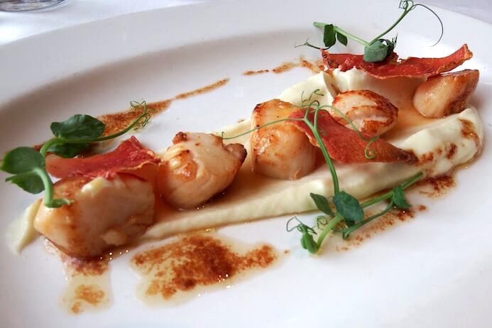 Wrights Findlater Howth review Seared scallops with cauliflower puree