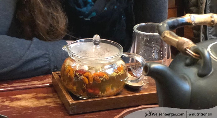 black tea steeping with fruit