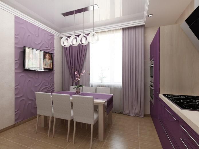 фиолетовая кухня занавески