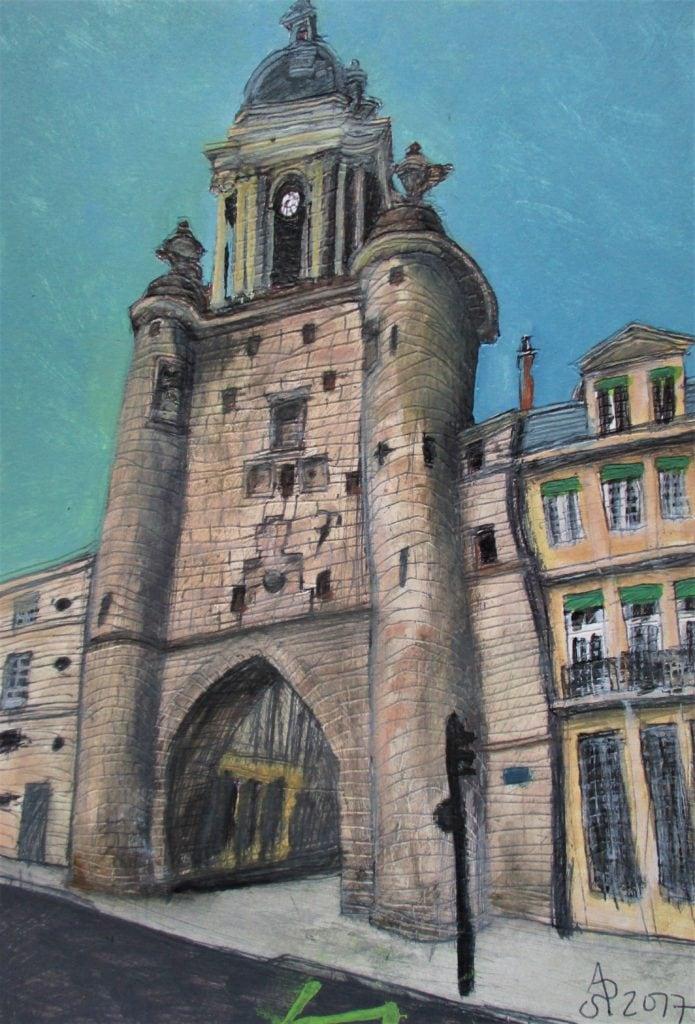 La Rochelle. Grosse Horloge. (Torre o puerta del reloj). Tinta, acualrela y acrílico sobre papel de 370g/m2. 30 x 21 cm. 2017.