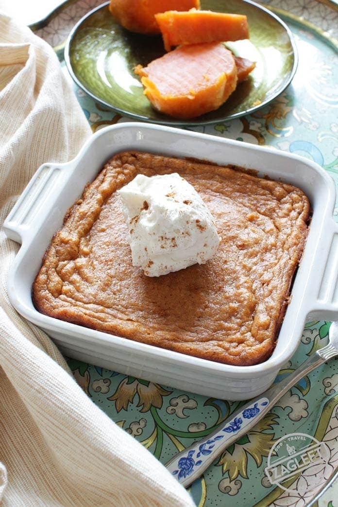 Sweet Potato Pie Recipe For One- Thispopular Southern dessert starts with a buttery graham cracker crust and is filled with perfectlyspicedsweet potato custard. Top this tasty single serving sweet potato piewith a spoonful of maple whipped cream and you've got an amazing single serving dessert. | One Dish Kitchen
