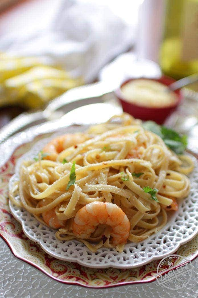 Shrimp Fettuccine Shrimp Fettuccine Recipe For One, easy meal that cooks in 20 minutes! Healthy, hearty and full of flavor. The perfect amount for anyone cooking for one. | One Dish Kitchen