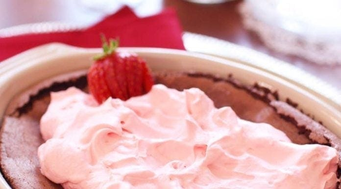Rich and luscious, gluten-free Flourless Chocolate Cake For Two served with a light and delicate Strawberry Whipped Cream | One Dish Kitchen
