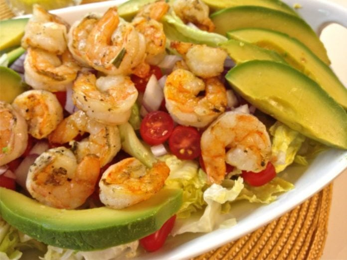 Flavorful Grilled Shrimp and Avocado Salad with a wonderfully tangy Lemon Mustard Vinaigrette. A wonderful main dish salad. | ZAGLEFT